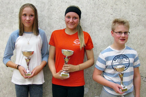B-kaavion 2. Heidi Salmi KSQ, 1. Johanna Salmi KSQ & 3. Topi Takaluoma OSK