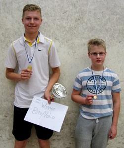 Pojat alle 15 menestyjät: 1. Elias Korhonen ESRC, 3. Topi Takaluoma OSK, kuvasta puuttuu 2. Joose Leppänen ESRC