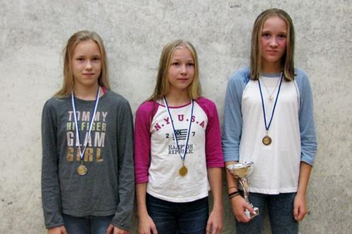 Tytöt alle 15 menestyjät: 2. Kamilla Stengård SquNa, 1. Viola Joutsi SquNa & 3. Heidi Salmi KSQ