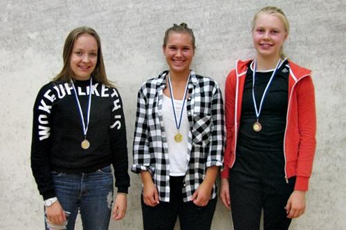Tytöt alle 17 menestyjät: 2. Saana Valasma OSK, 1. Katri Aalto-Setälä ESRC & 3. Meeri Särkkä HSK
